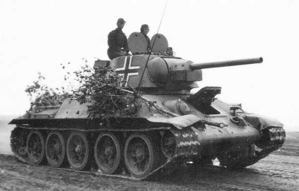 As the Germans used captured T-34 against the red Army