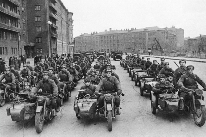 Some motorcycle troops of the red army in the Great Patriotic