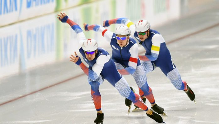 Russian skaters won all the medals in the 500 meters competition at the World Cup