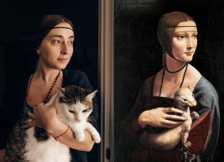 The isolation of the people from boredom posing as heroes of famous paintings. It's cool and funny