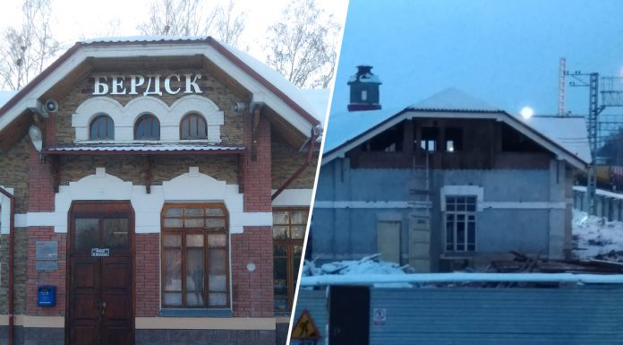 In a 100 year old station building near Novosibirsk broke out — public feared that it will carry