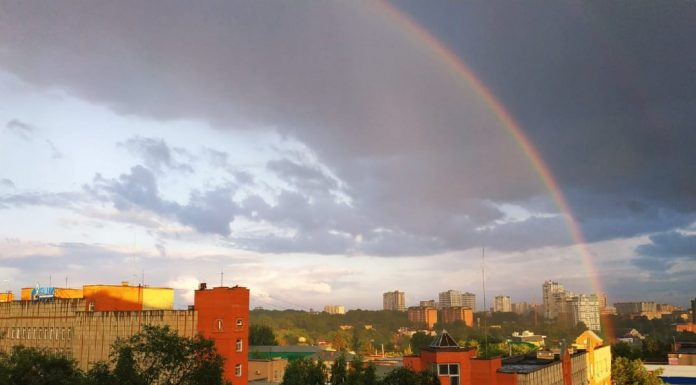 The multi-colored sky: in Novosibirsk after a rain there was an amazing double rainbow