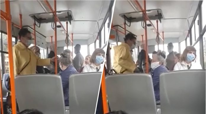 The tram could not move because of the girl who refused to wear a mask and called her a muzzle