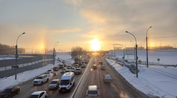 Over the Novosibirsk noticed the morning's halo took a picture of the witness