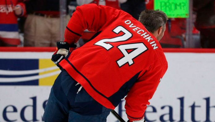 Ovechkin tribute to Kobe Bryant wearing a sweater with his number