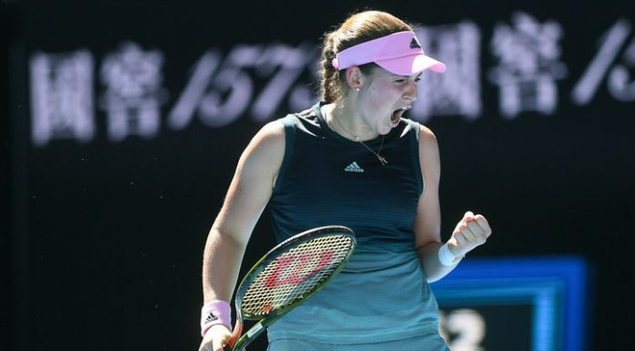 Jelena Ostapenko reached the second round of the tournament in Doha
