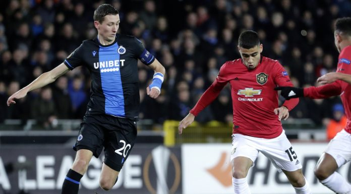 """""""Manchester United"""" and club Brugge played a draw in the first match of 1/16 finals of the Europa League"""