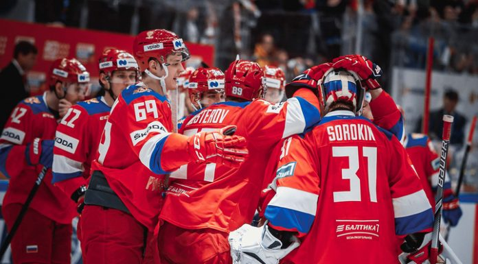 Named Russian national team structure on a match of Euro tour against Finland