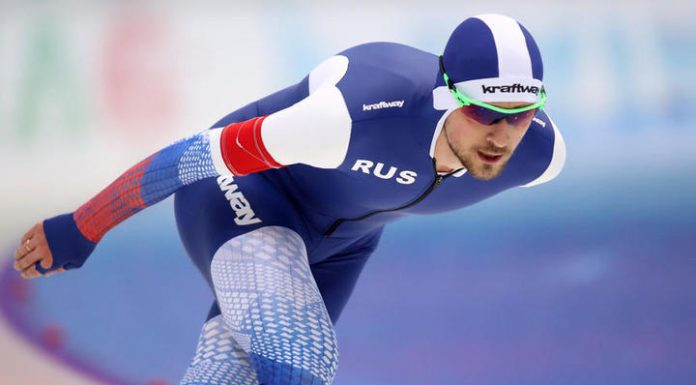 Skater Uskov won the race at 1500 meters at the world Cup in calgary