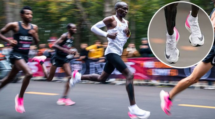 Sneakers how dope. The IAAF banned the shoes, which set a world record