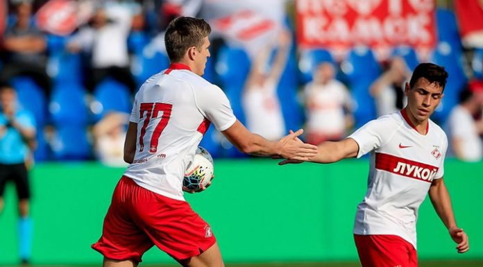 Sobolev first goal for Spartak helped the red-and-white to beat Partizan