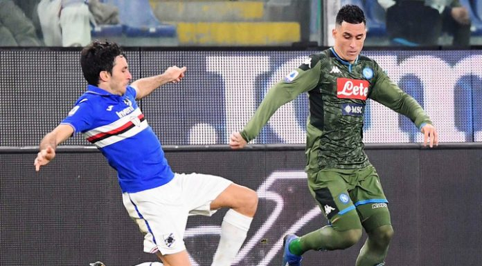The players of Napoli and Sampdoria scored on two of six goals