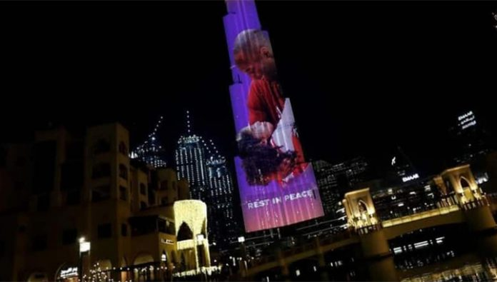 The tallest building in the world decorated in honor of Bryant and his daughters