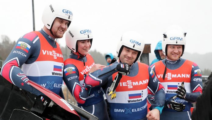 The world Cup. Russian Luge won the relay race