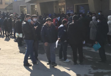 In Novosibirsk near the immigration center on Yesenin crowd