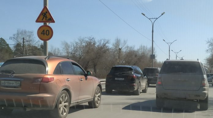 In Novosibirsk was a big traffic jam on the Berdsk highway — there repairing the road