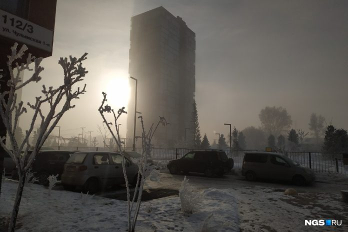 Trees in white, pitch-black sky — watching Novosibirsk appears in the fog