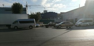 Novosibirsk got stuck in traffic on the work area due to a small accident