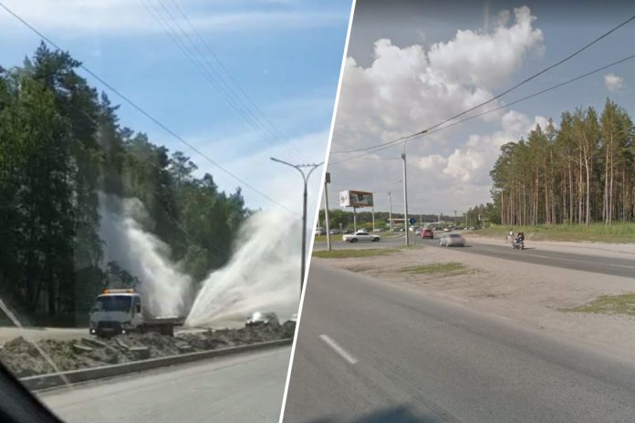 On Berdsk of highway from the ground scored a water fountain