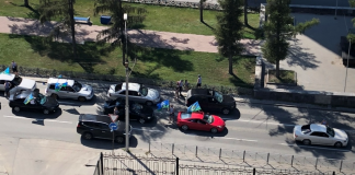 Police said that the Marines do not overlap Dimitrovsky bridge, but they partially blocked the Red prospectus